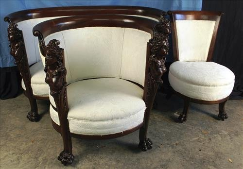 Karpen labeled 3 piece Art Nouveau parlor set