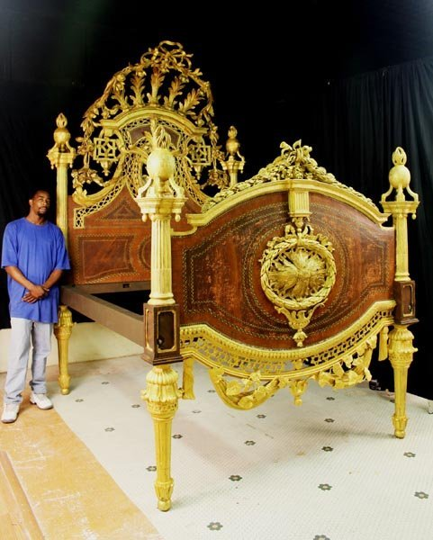 King size gold gilded bed of Russian Royalty