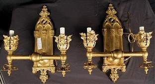 Pair Gothic style double arm wall sconces