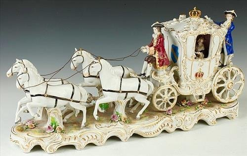 Lg. Dresden porcelain carriage with horses
