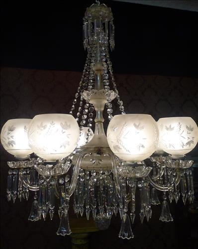 Eight Arm Cut Crystal and Satin Glass Gasolier