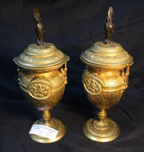 19th Century French gilt bronze urns with phoenix birds