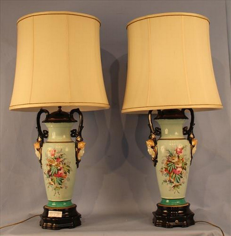 Pair of old Paris porcelain urns made into lamps