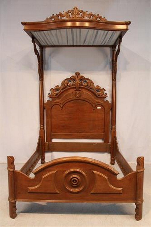 Victorian half tester bed with original top, 8 ft. 11