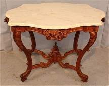 Walnut Victorian turtle top table with dogs