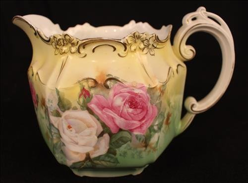 R.S. Prussia pitcher, hand painted white and pink roses