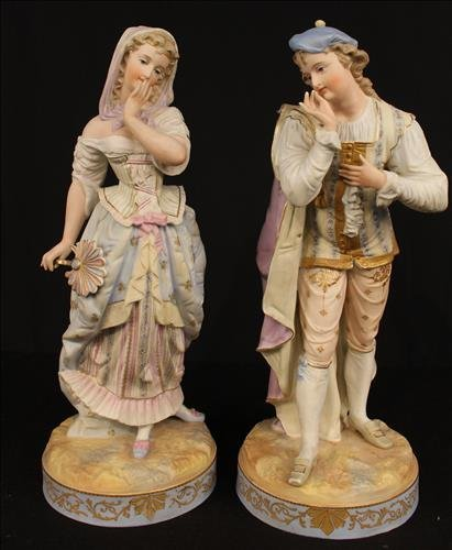 Pair of large French figurines, 18 in. T.