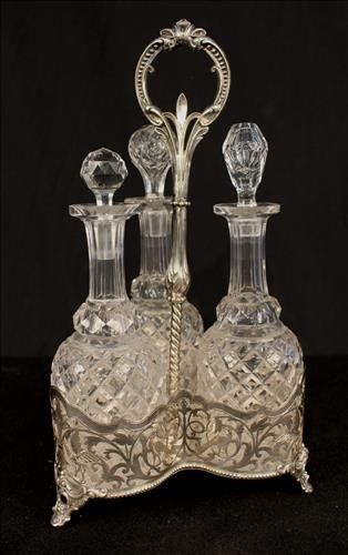 Silver-plate Victorian wine set with cut glass  bottles
