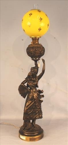 Figural oversize banquet lamp of a dancer, signed