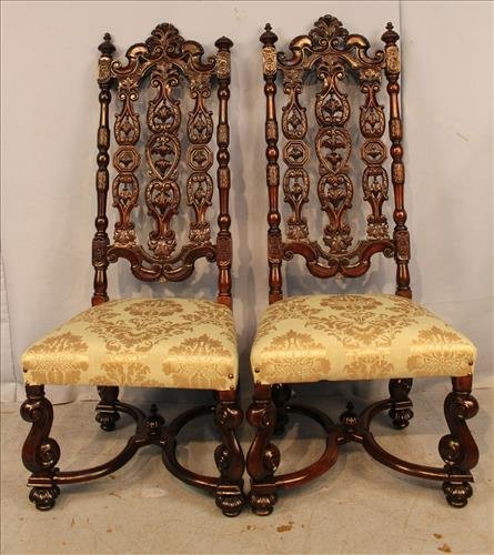 Matched pair mahogany fireside chairs