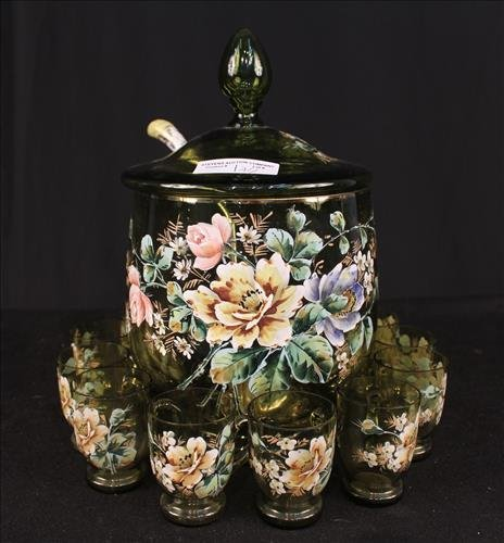 Hand painted 19th Century polychromatic syllabub set