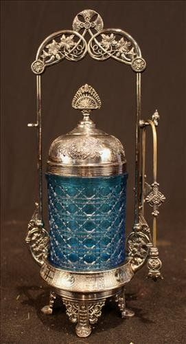 Victorian silver-plate pickle castor with blue liner
