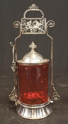 Victorian silver-plate pickle castor cranberry insert