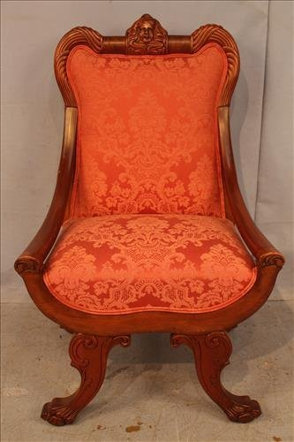 Mahogany Empire side chair wilt faces in crown
