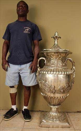 Palace size silver bronze urn with great detail
