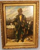 Oil on board of man with cotton basket 155 x 20 in