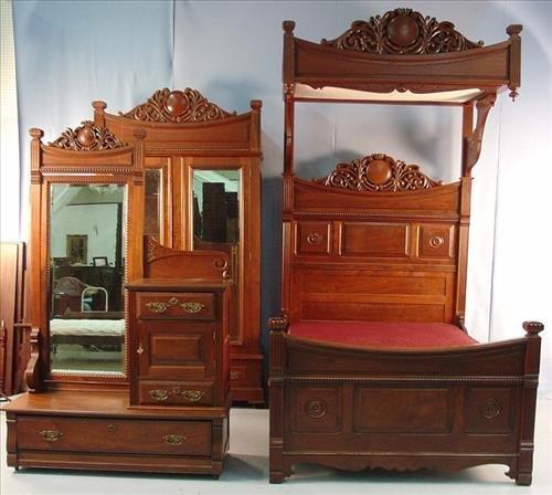 3 Pc. Walnut Victorian Bedroom Suit