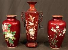 3 piece Oriental enamel hand painted vases