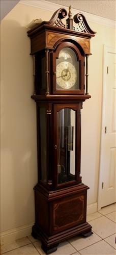 Five tube grandfather clock by Ridgeway Clock Co.