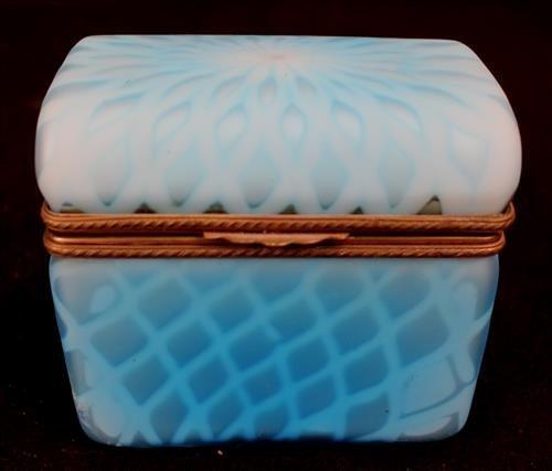 Victorian blue satin glass jewelry basket