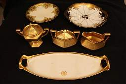 6 pc Limoges, 1 tray, sugar & creamer with tray