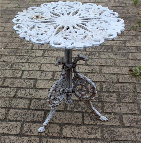 Victorian cast iron tea table, 22 in. T, 20 in., D.