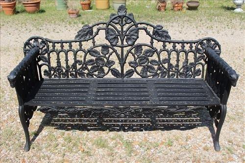 Black extremely heavy cast iron garden bench