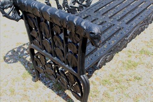 Black extremely heavy cast iron garden bench - 3