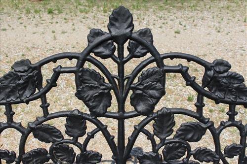 Black extremely heavy cast iron garden bench - 4