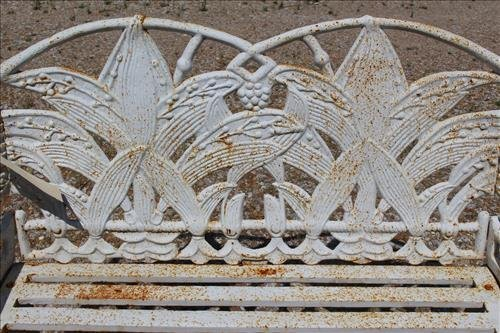 White case iron garden love seat with fern leaves - 2