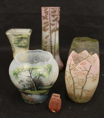 6 pieces of acid etched art glass