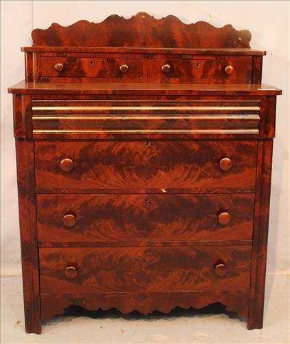 Flame mahogany Empire 6 drawer chest