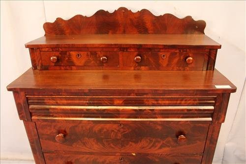 Flame mahogany Empire 6 drawer chest - 2
