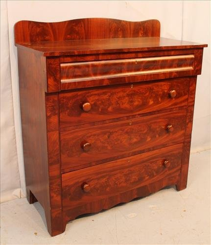 Mahogany Empire 4 drawer chest with backsplash - 2