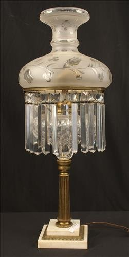 Large Victorian sinumbra lamp, 29 in. T.