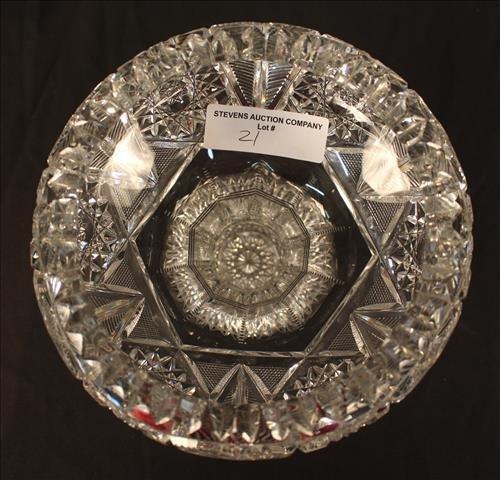 Heavy brilliant cut glass bowl, 8 in. T, 9 in. Dia. - 2