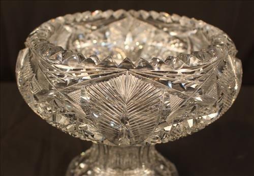 Heavy brilliant cut glass bowl, 8 in. T, 9 in. Dia. - 3