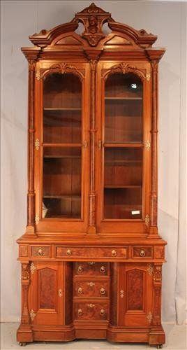 Oversize Victorian butlers secretary with columns