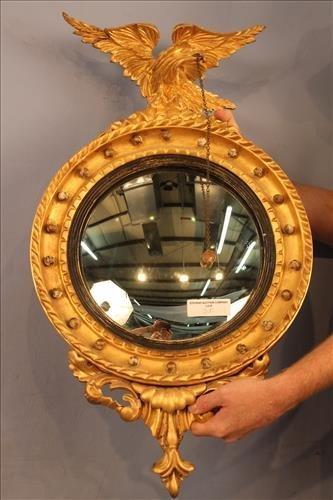 Period original gold gilded convex mirror with eagle