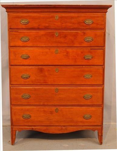 Period cherry 6 drawer high boy chest