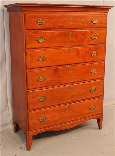 Period cherry 6 drawer high boy chest - 2