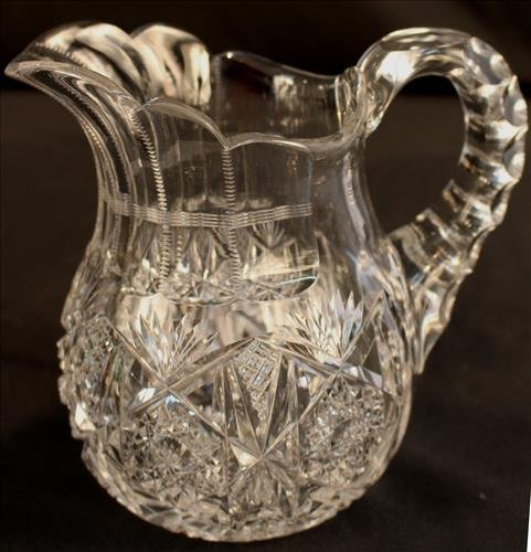 Small brilliant cut glass water pitcher, 6.5 in. T