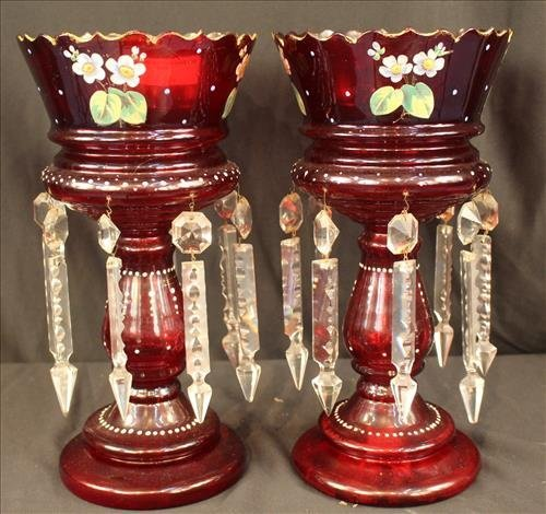 Pair ruby red mantle lusters with flowers