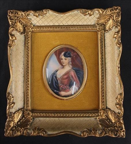 French painting on ivory of French royalty, 8 x 7.5