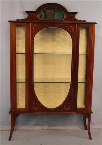 French mahogany inlay curio cabinet
