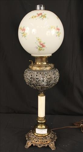 Brass and onyx banquet lamp with floral shade