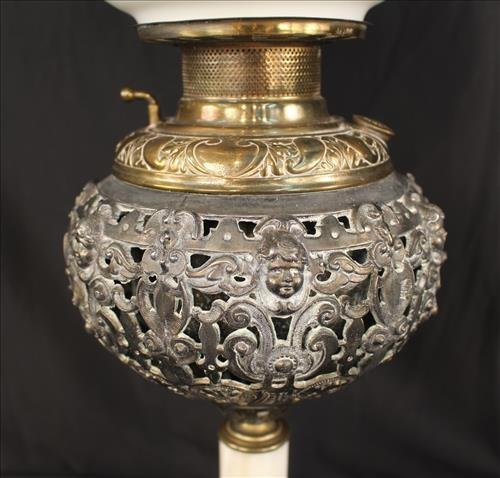 Brass and onyx banquet lamp with floral shade - 2
