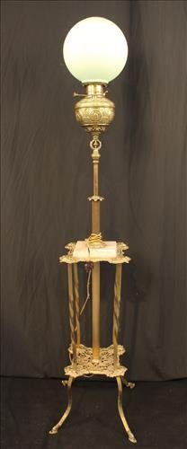 Victorian brass piano lamp with onyx on base