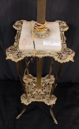 Victorian brass piano lamp with onyx on base - 2