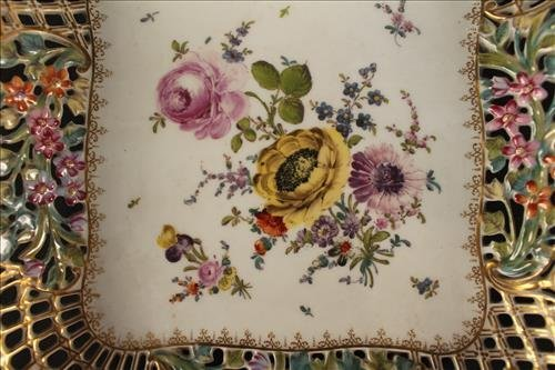 Meissen card receiver with flowers and gold paint - 2